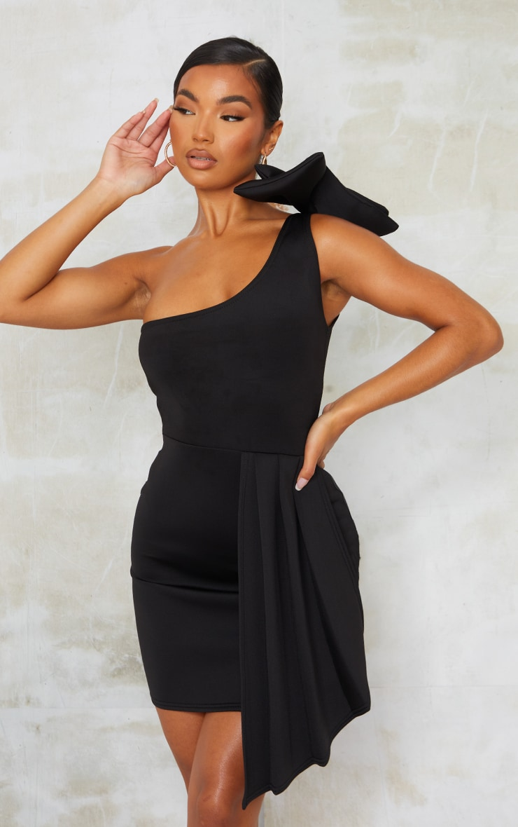 Black Bonded Scuba Bow Shoulder Ruffle Bodycon Dress image 3