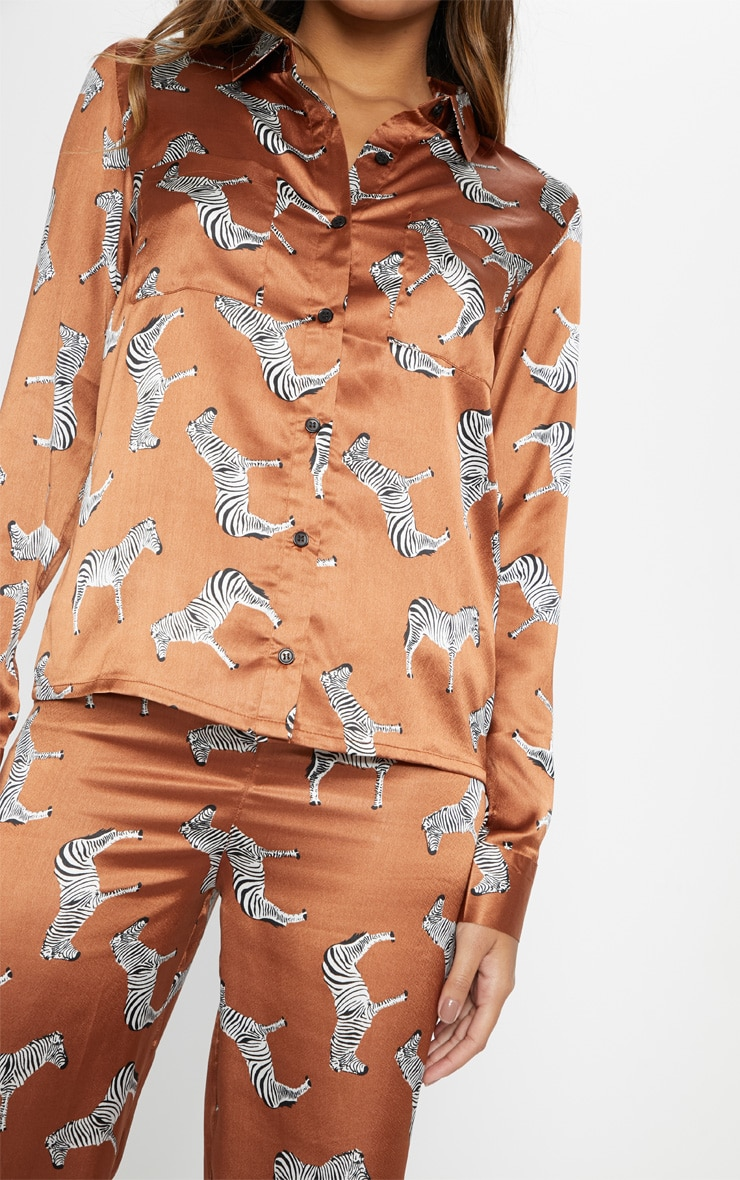 Rust Zebra Print Long Sleeve Satin Pyjama Set 5