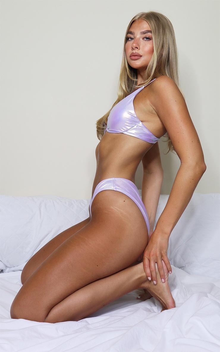 Lilac Iridescent High Leg Bikini Bottom 2