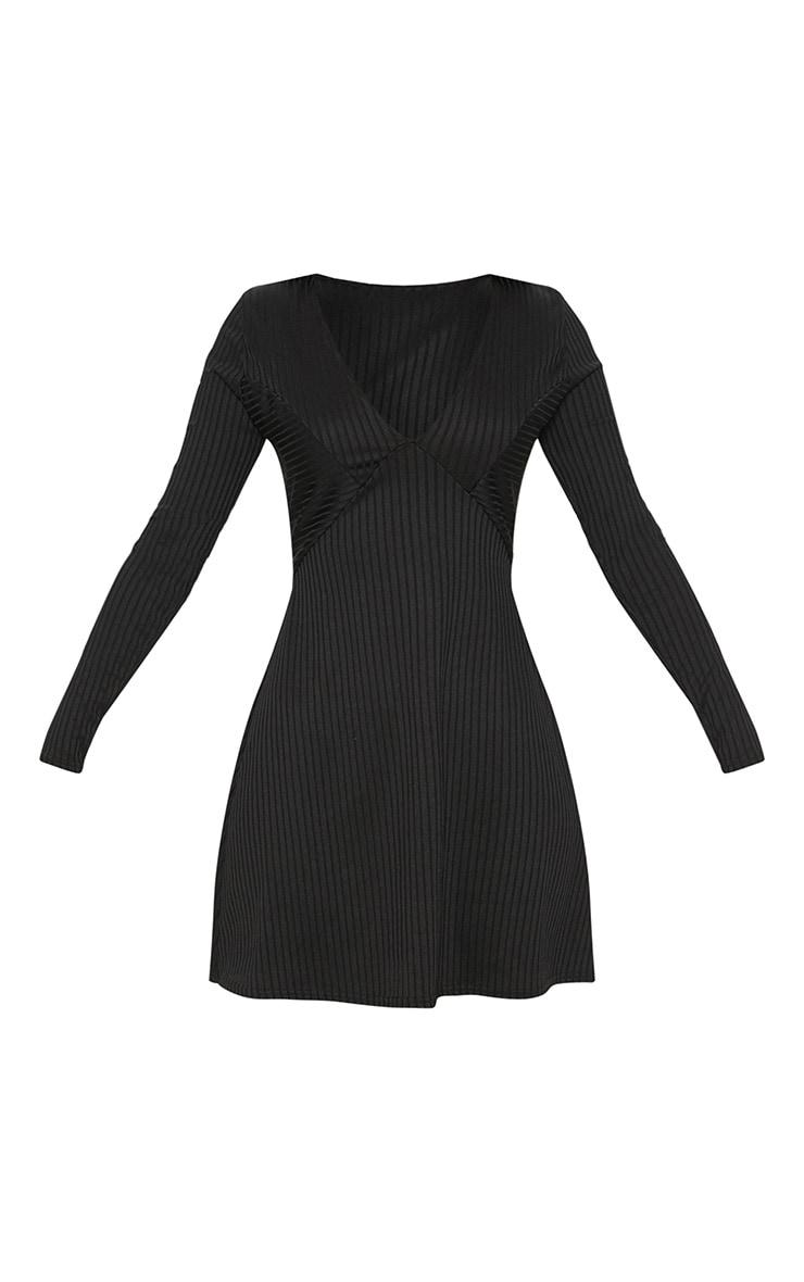 Black Rib Plunge Skater Dress 3