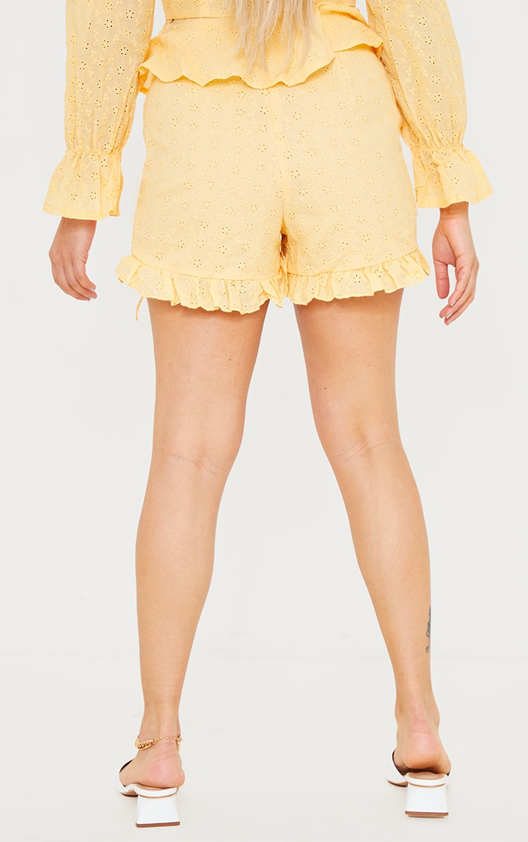 Petite Yellow Broderie Anglaise Ruched Detail Shorts 3