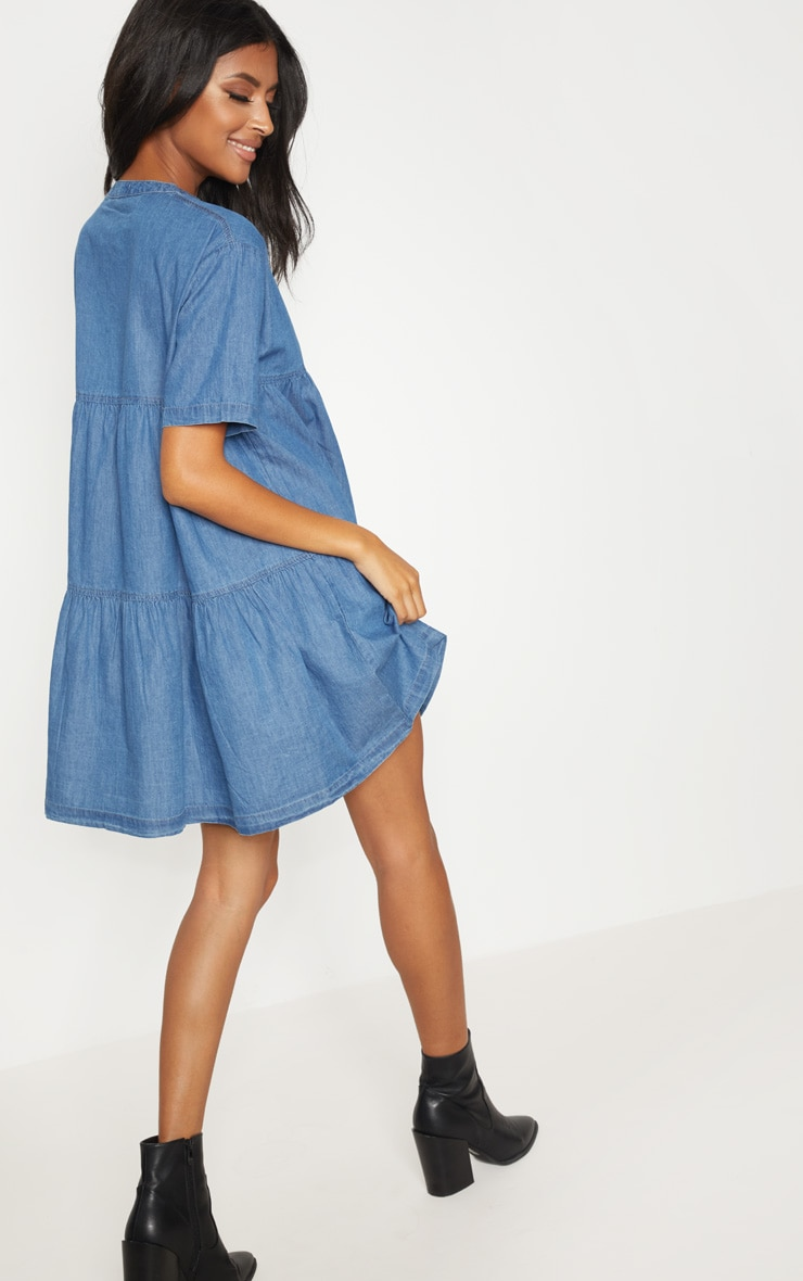 Mid Wash Chambray Tiered Smock Dress 2