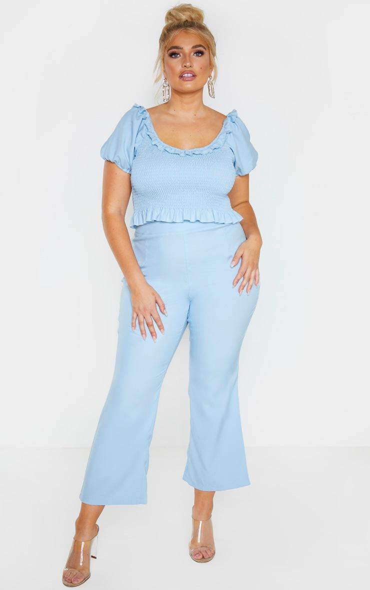 Plus Dusty Blue Shirred Puff Sleeve Crop Top  4