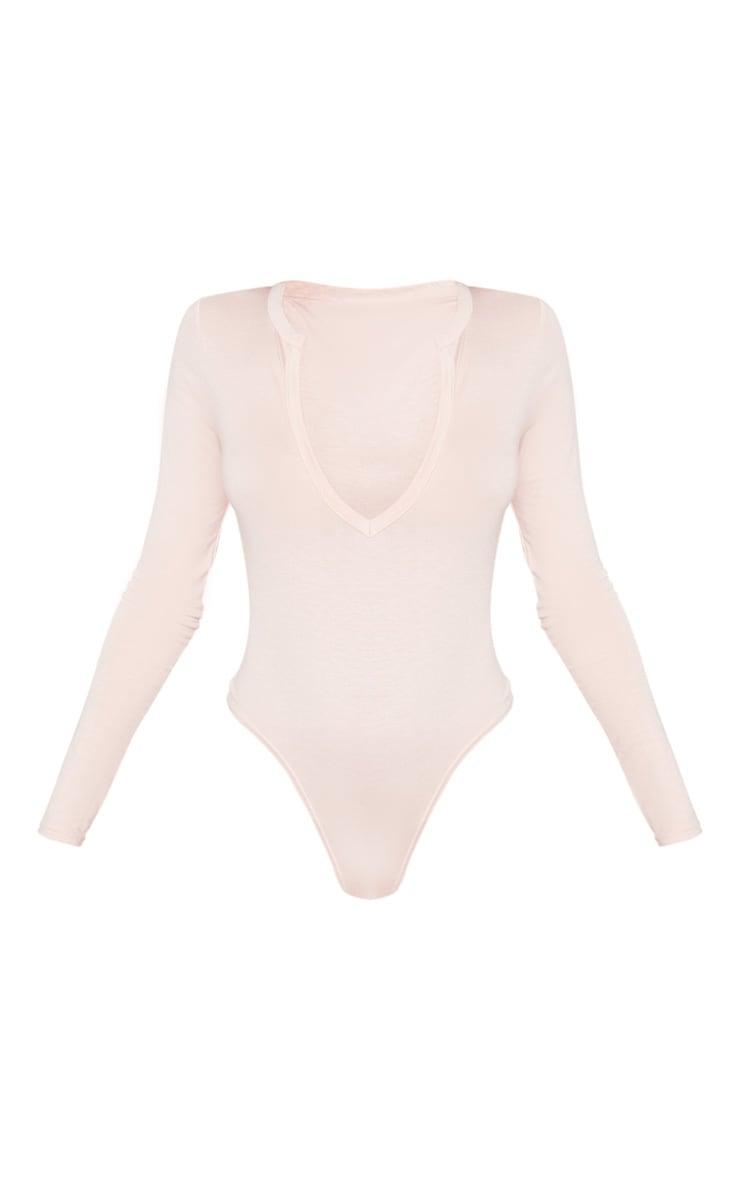 Basic Blush Plunge Long Sleeve Bodysuit 3