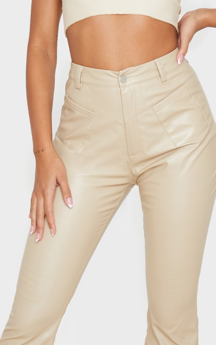 Cream Faux Leather Pocket Detail Straight Pants 5