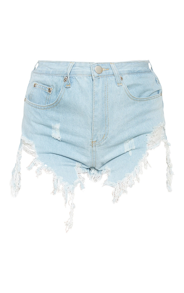 Light Blue Wash Extreme Thigh Rip Denim Shorts 5