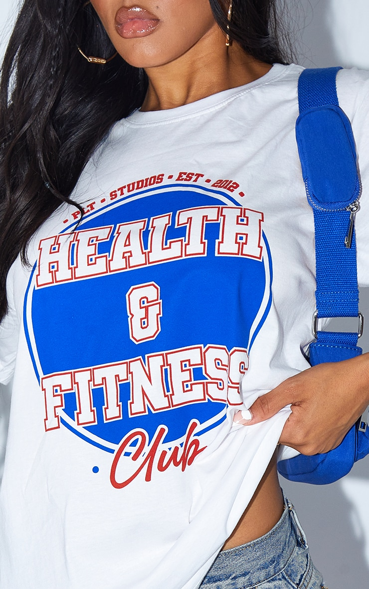 White Health And Fitness Print T Shirt 4