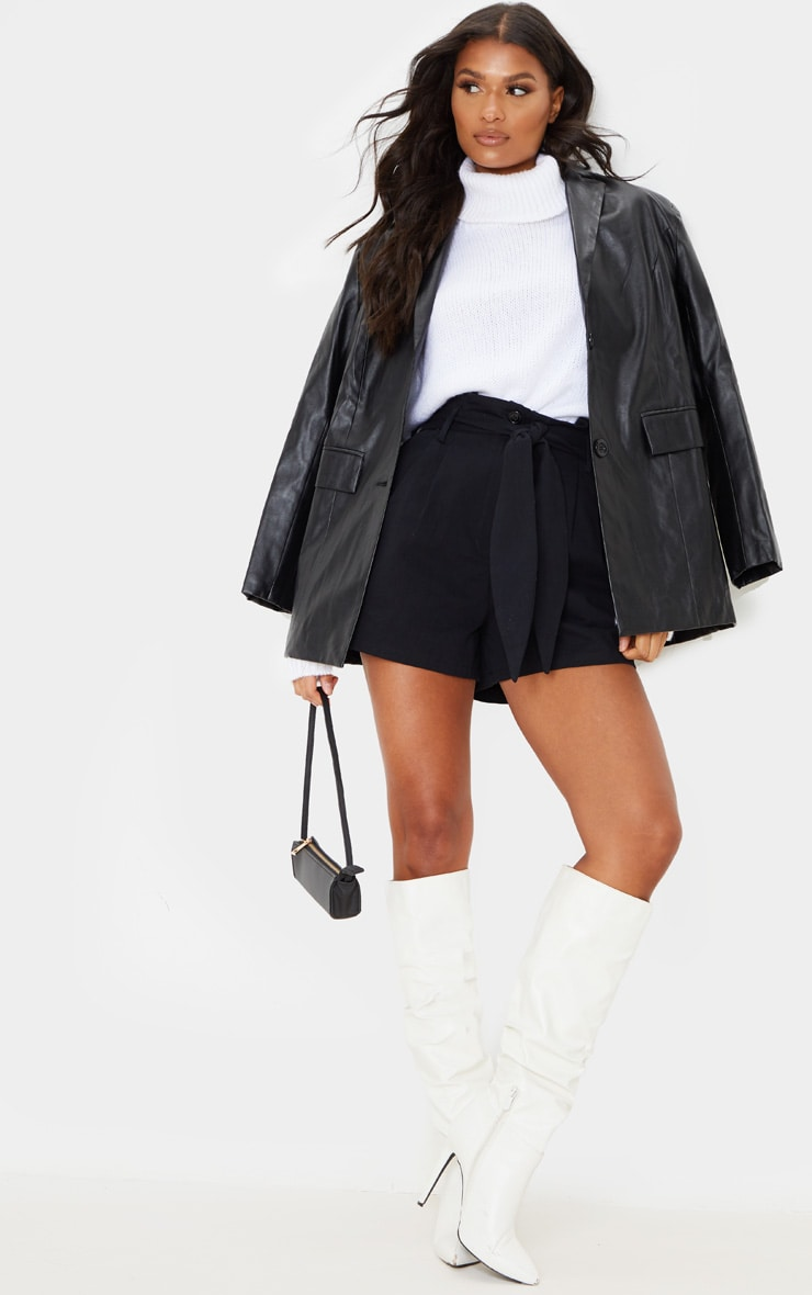 Black Paperbag Tie Waist Tailored Shorts 5