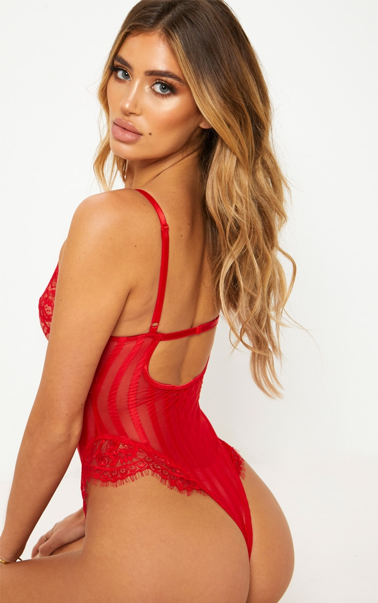 Red Striped Lace Body 2