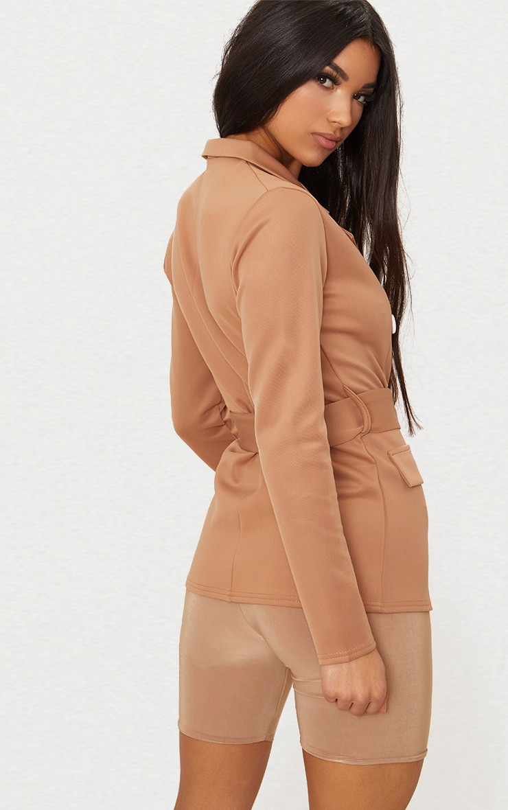 Camel Double Breasted Belted Blazer 2