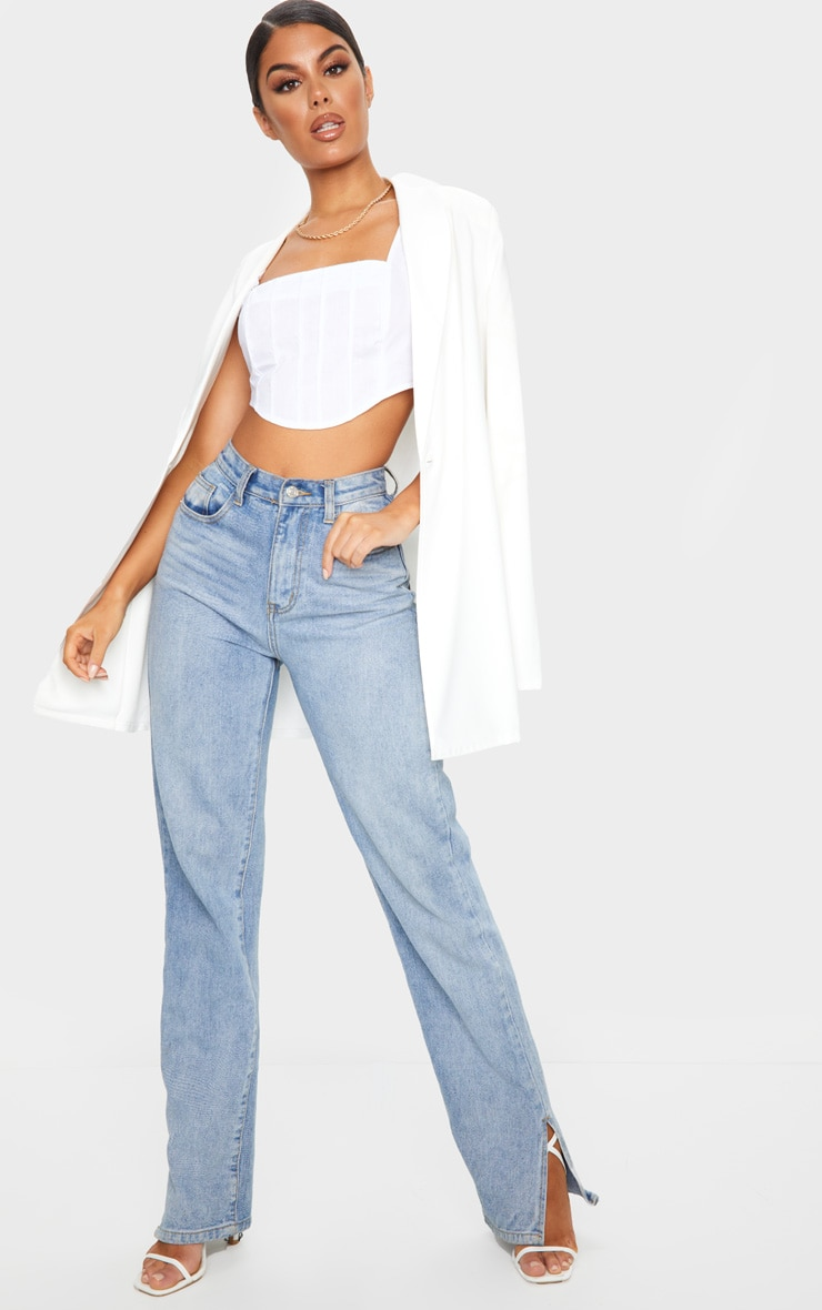 White Woven Pintuck Detail Curved Hem Crop Top 3