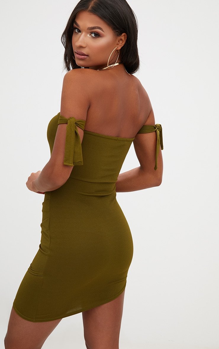 Olive Green Tie Sleeve Ruched Asymmetric Bandeau Bodycon Dress 2