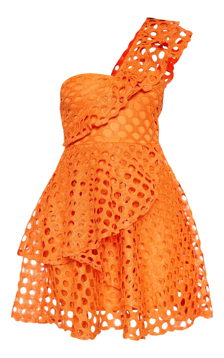 Bright Orange Lace One Shoulder Tiered Skater Dress 3