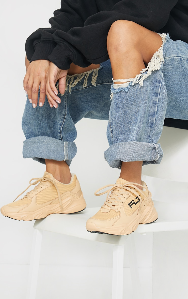 PRETTYLITTLETHING Stone PU Chunky Trainers 2
