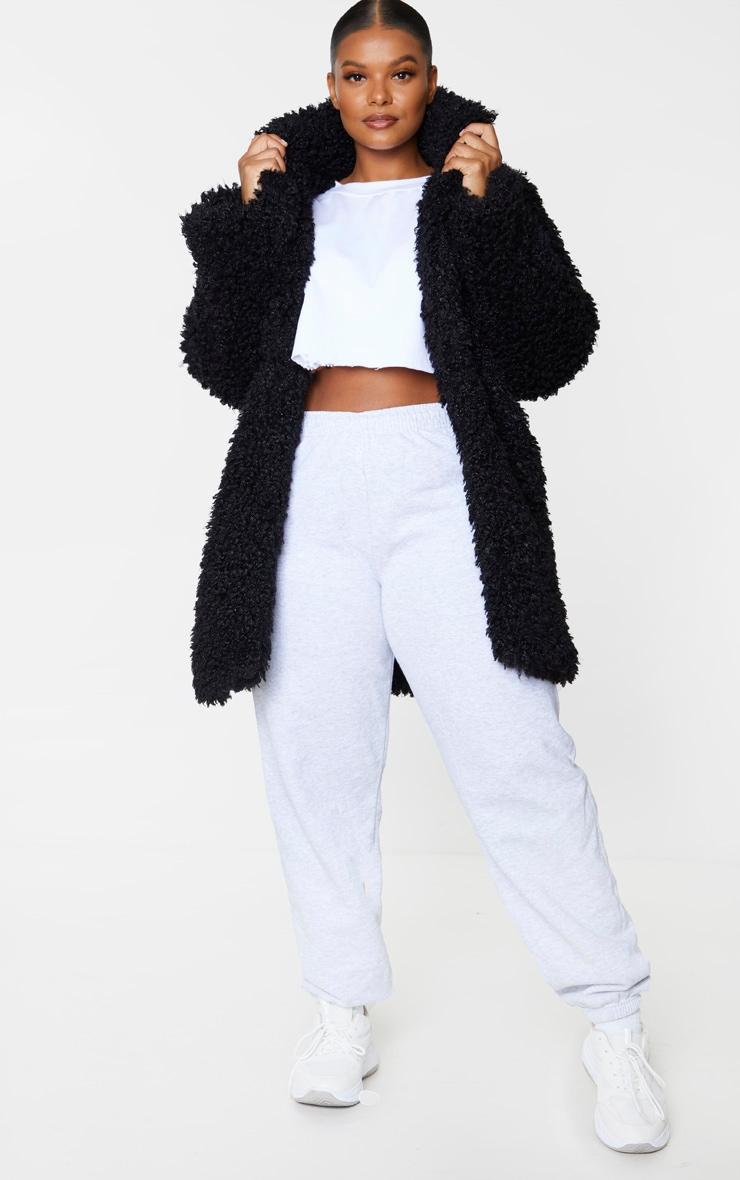 Plus Black Teddy Faux Fur Coat 1