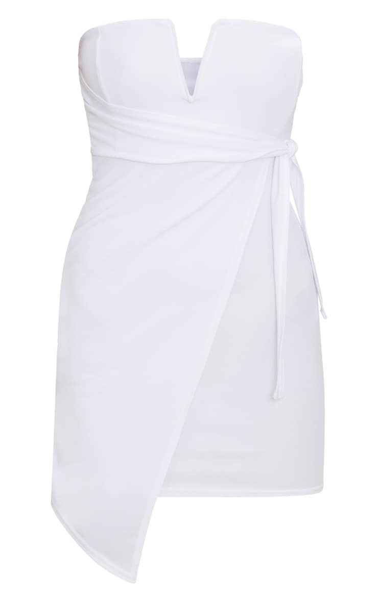 White V Bar Bandeau Wrap Bodycon Dress 3