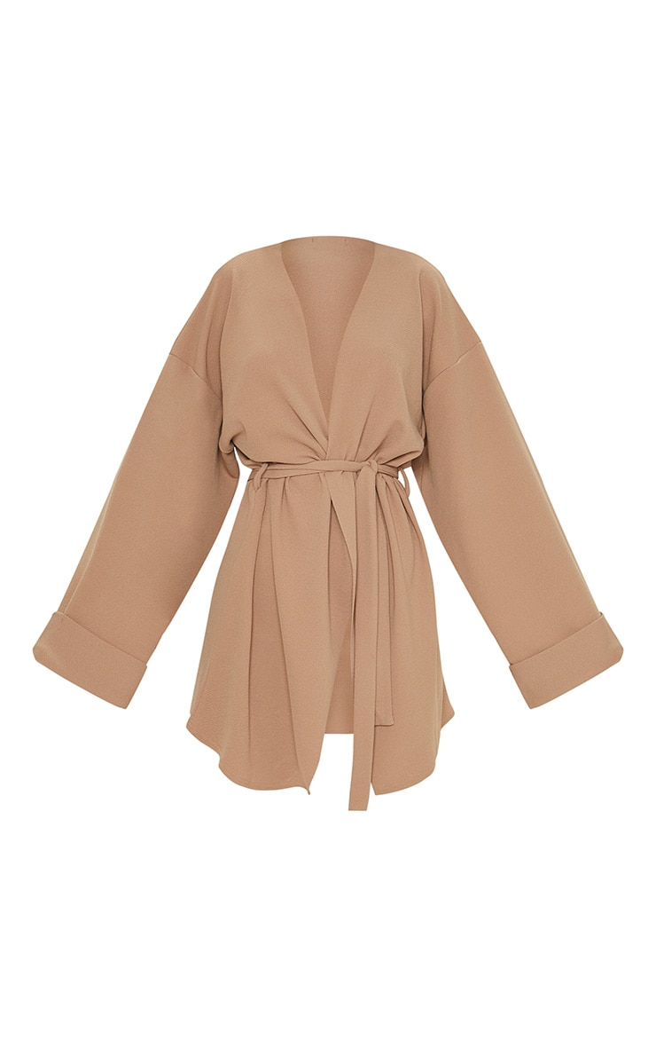 Camel Belted Oversized Sleeve Blazer 3