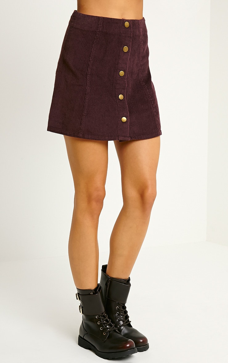 Turia Plum Cord Button Front Skirt 3