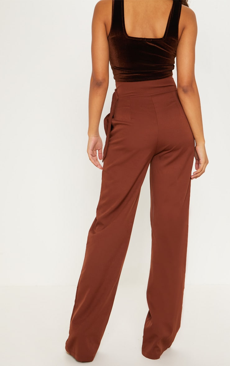 Tall Chocolate Brown Belt Ring Detail Wide Leg Pants 2