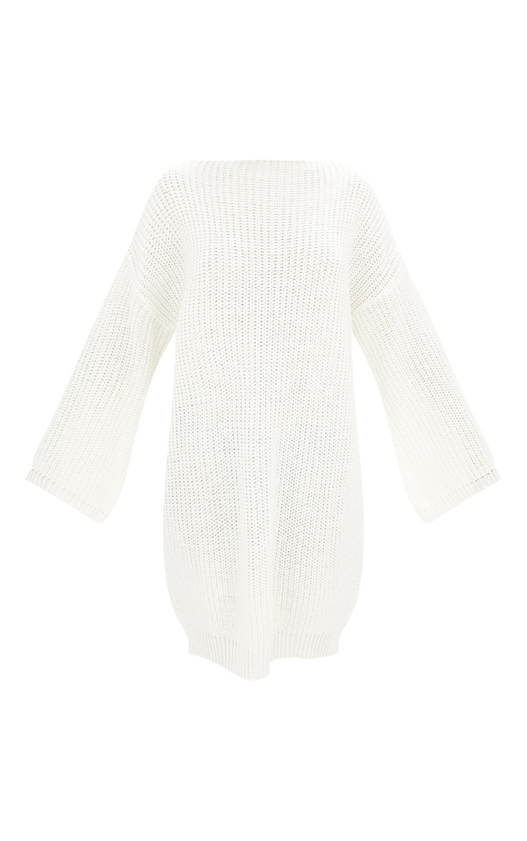 Cream Chunky Knit Flute Sleeve Jumper Dress 3