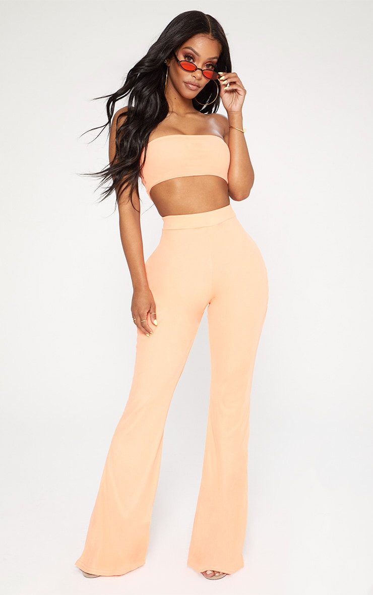Shape Neon Coral Mesh Flared Trousers 1
