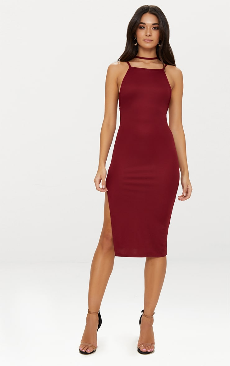 Deep Berry High Neck Extreme Strappy Back Choker Detail Midi Dress 2