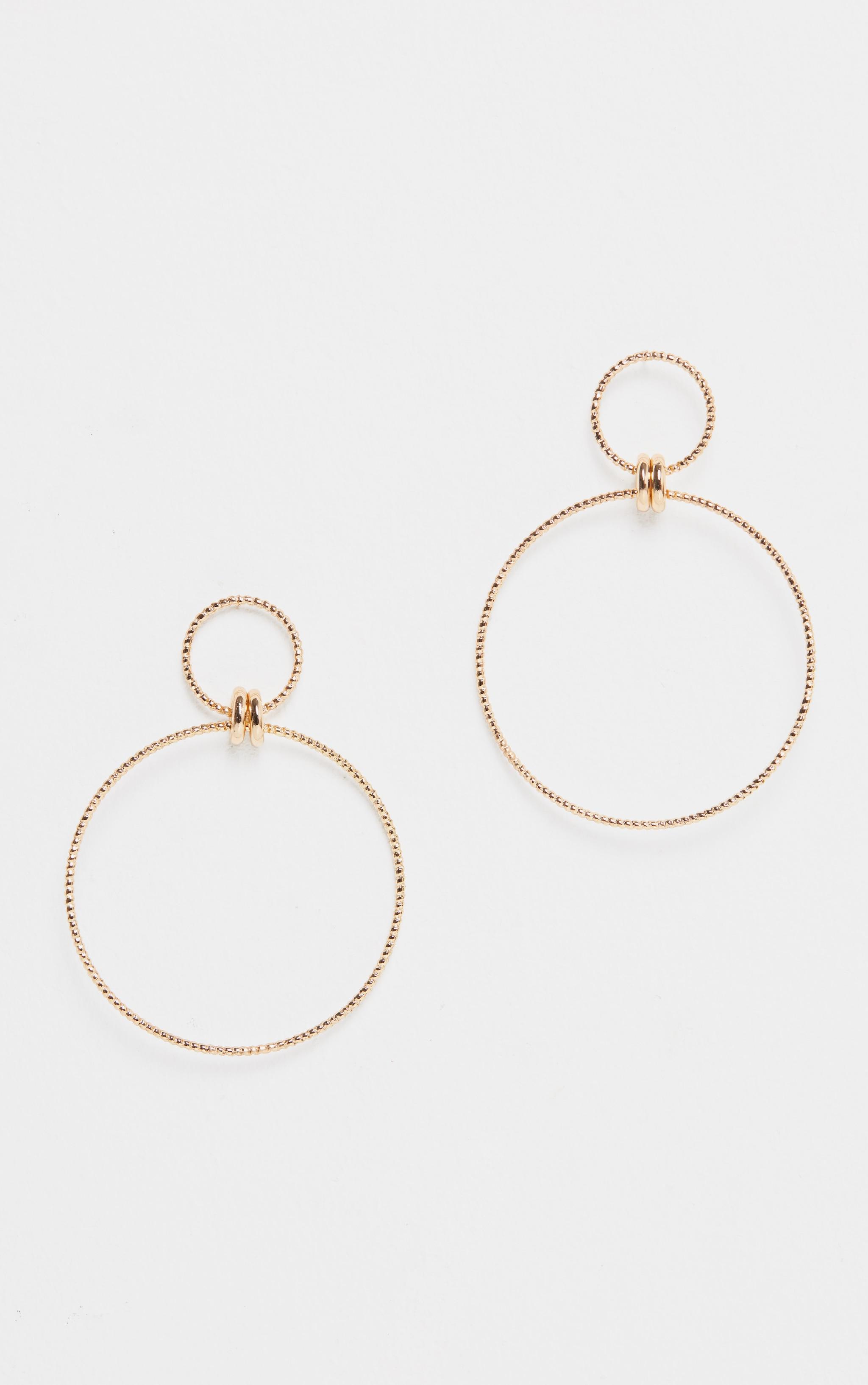 Gold Oversized Double Hoop Drop Earring 2