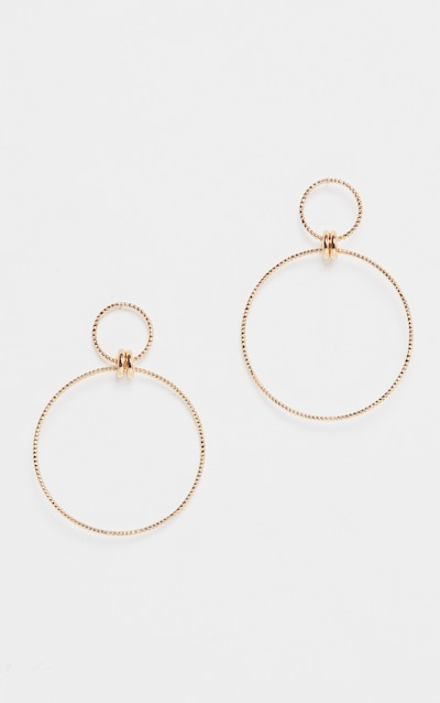 Gold Oversized Double Hoop Drop Earring