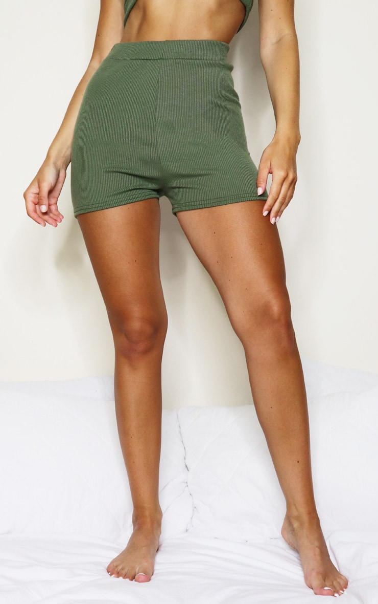 Khaki Soft Rib Mini Lingerie Short 2