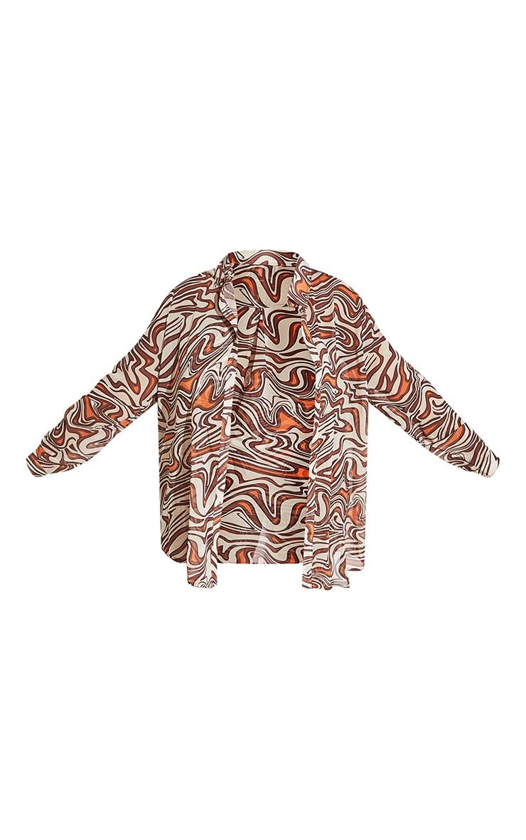 Plus Cream Animal Swirl Print Beach Shirt 8
