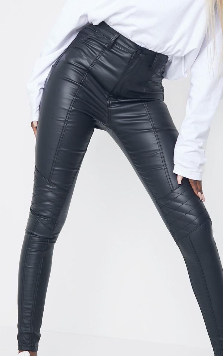 Tall Black Biker Coated Skinny Jeans 4