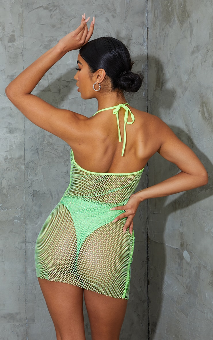Lime Diamante Fishnet Strappy Dress 3