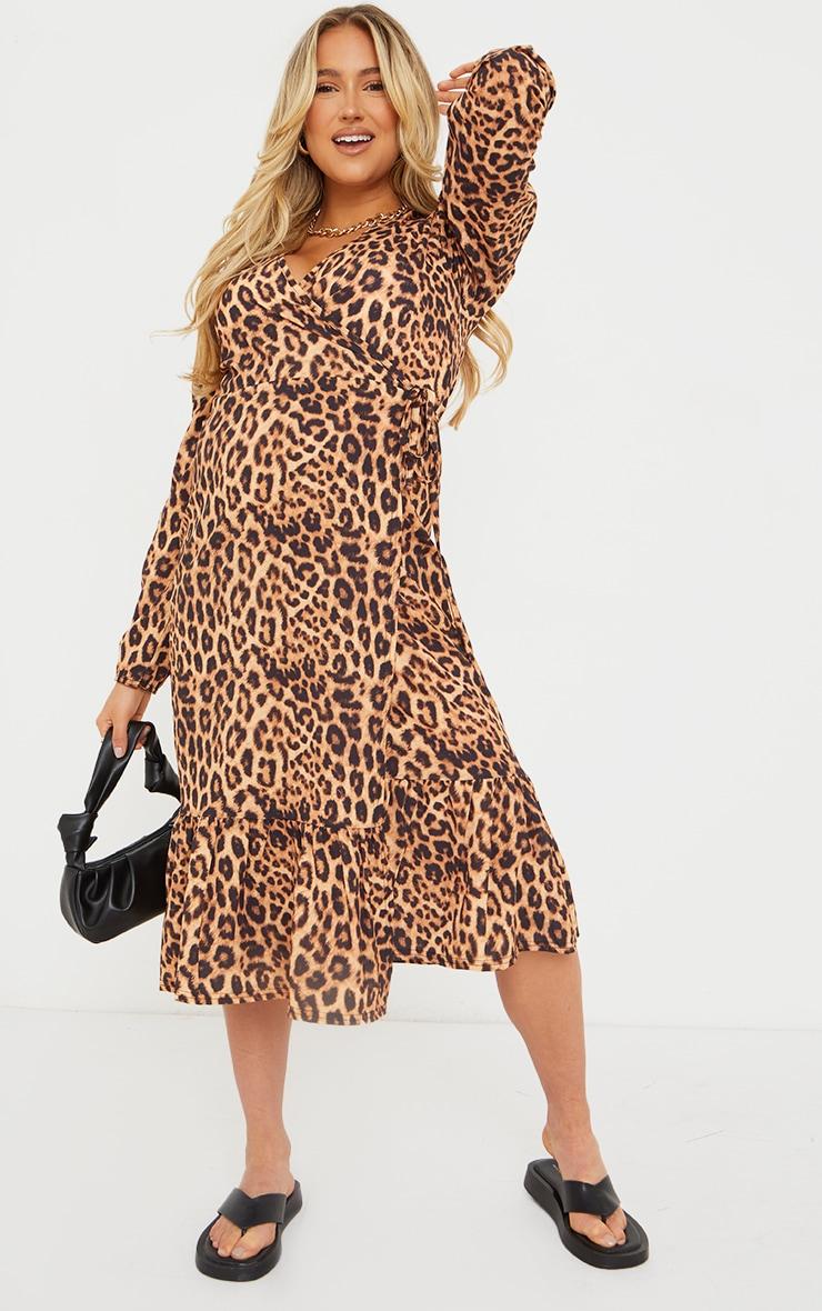 Maternity Brown Wrap Leopard Printed Midi Dress 1