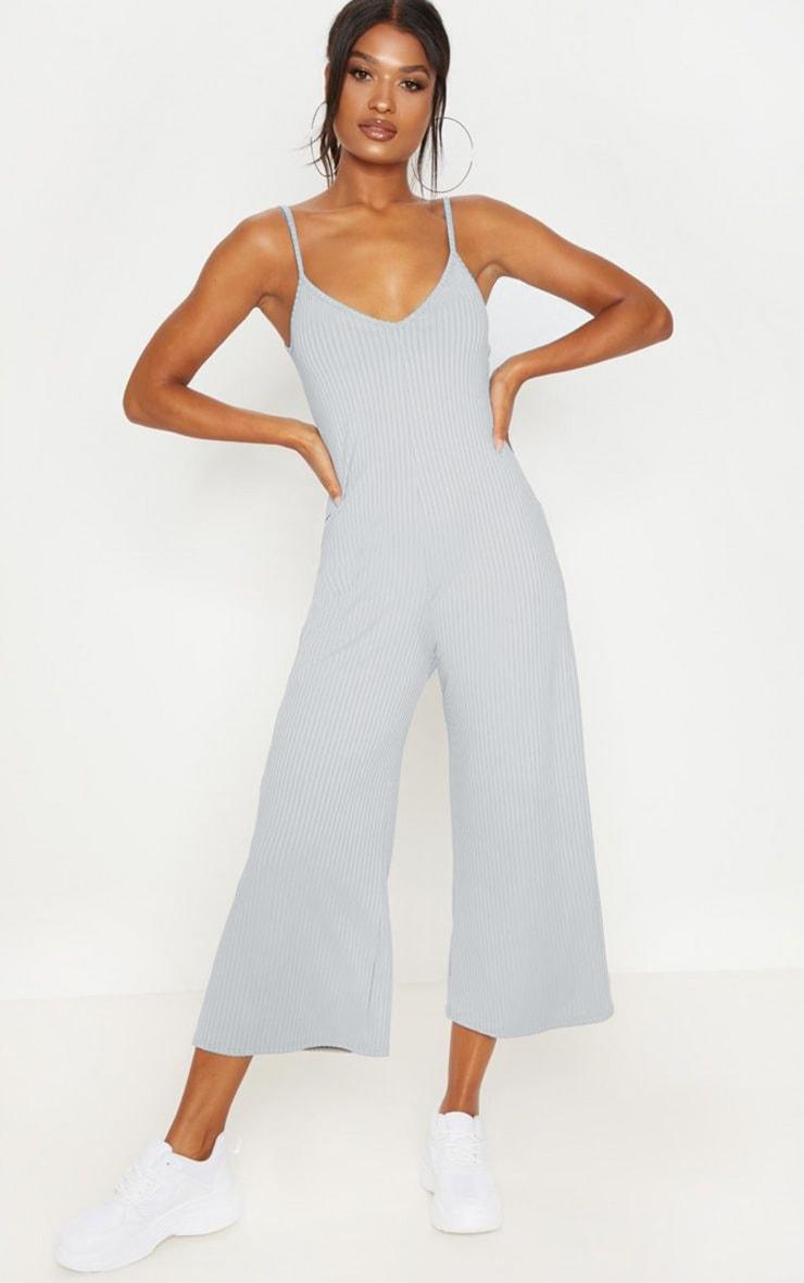 Grey Marl Ribbed V Neck Oversized Jumpsuit 1