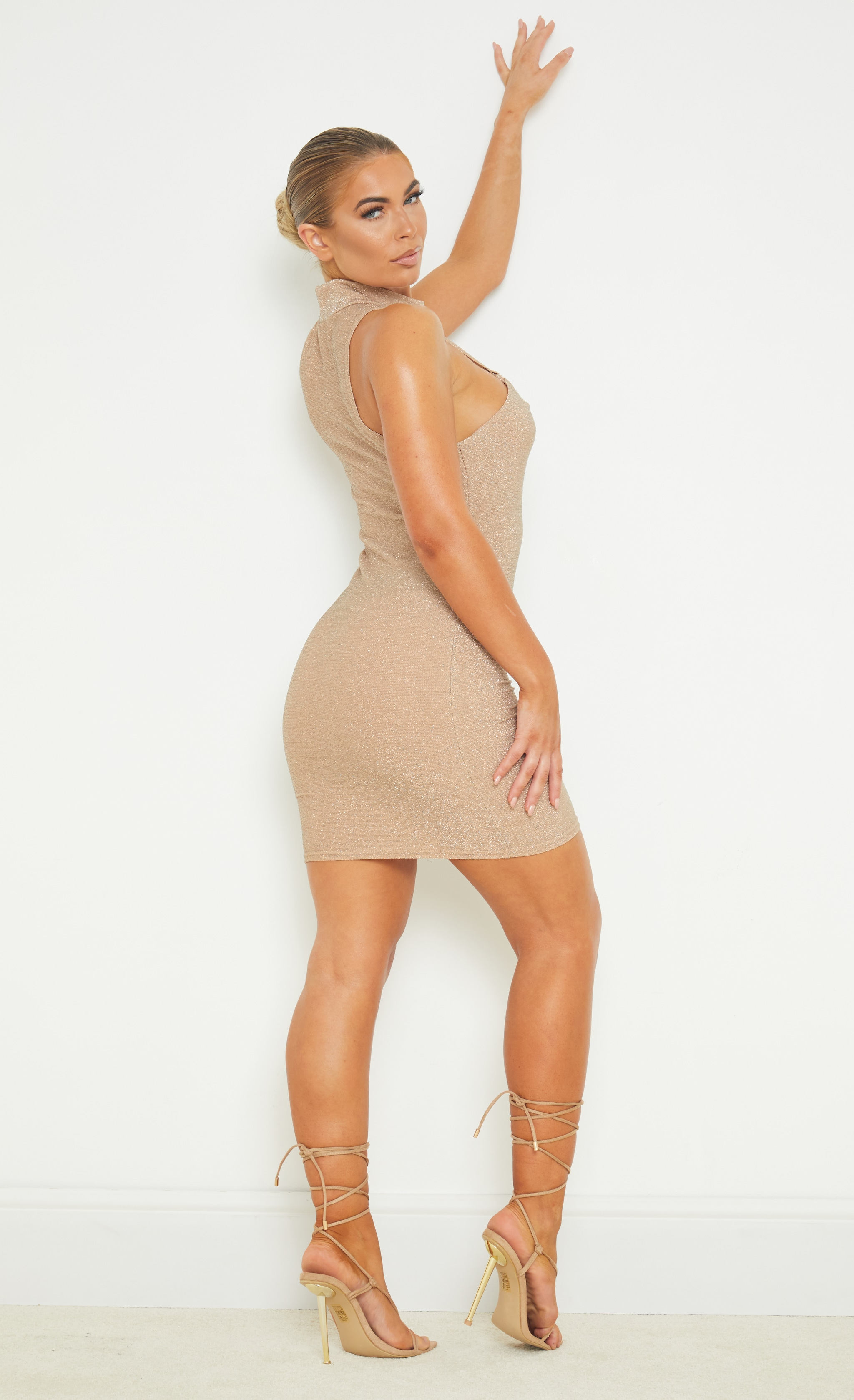 Nude Textured Glitter High Neck Sleeveless Lace Up Bodycon Dress 2