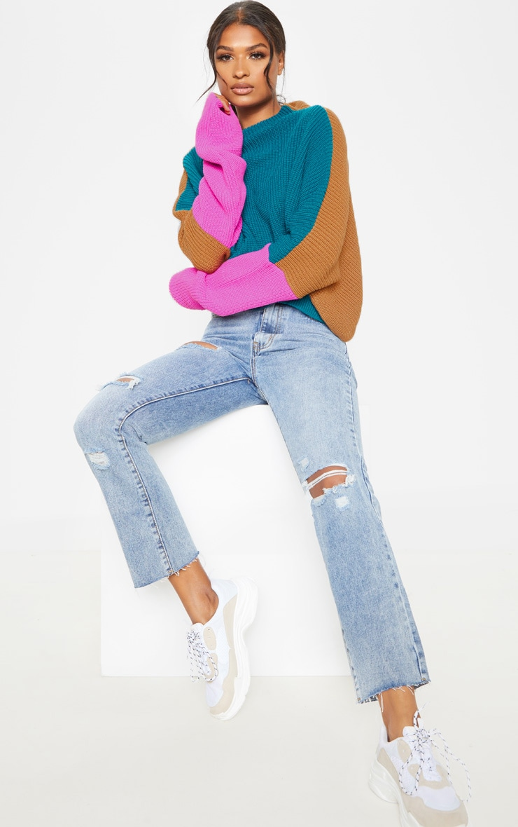 Teal Oversized Colour Block Jumper 4