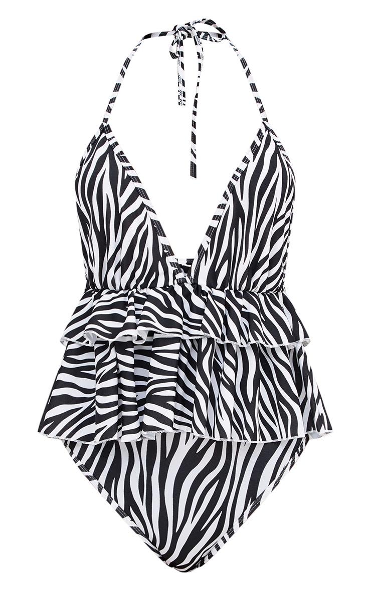 Zebra Print Frill Layer Swimsuit 3