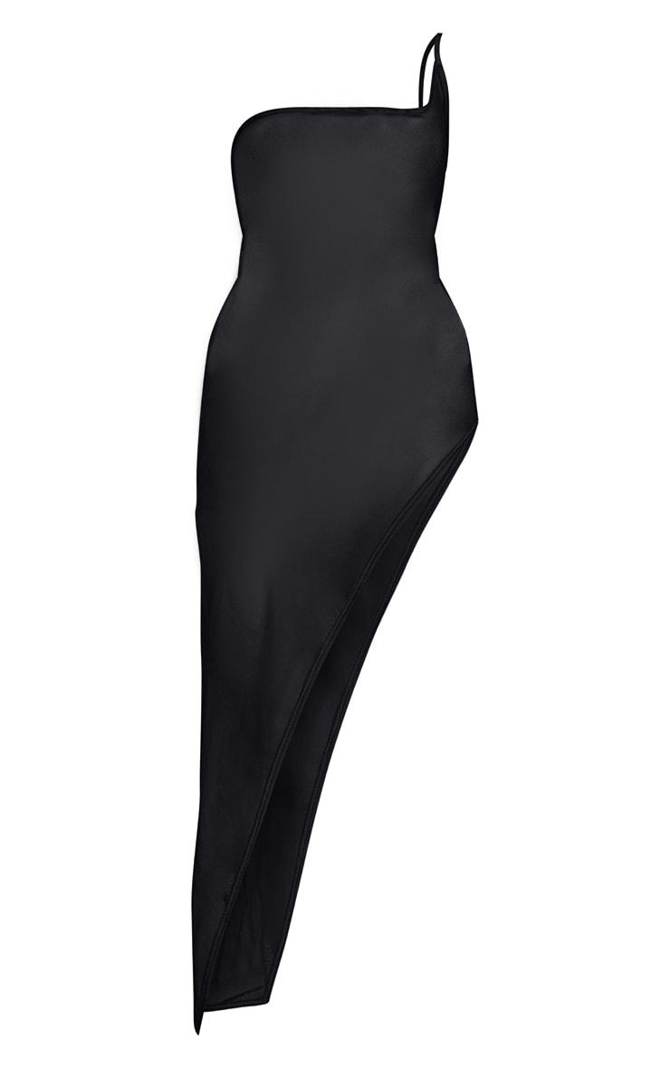 Black Mesh One Shoulder Thigh Split Midaxi Dress 5
