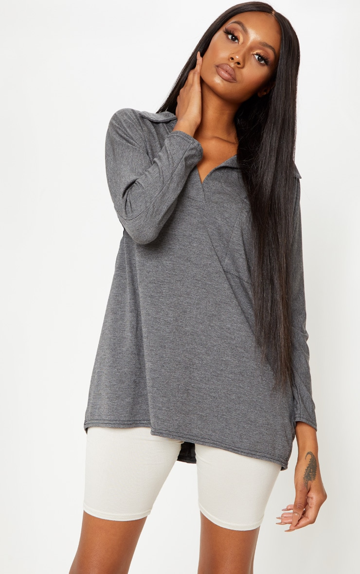 Grey Long Sleeve Oversized Polo Top