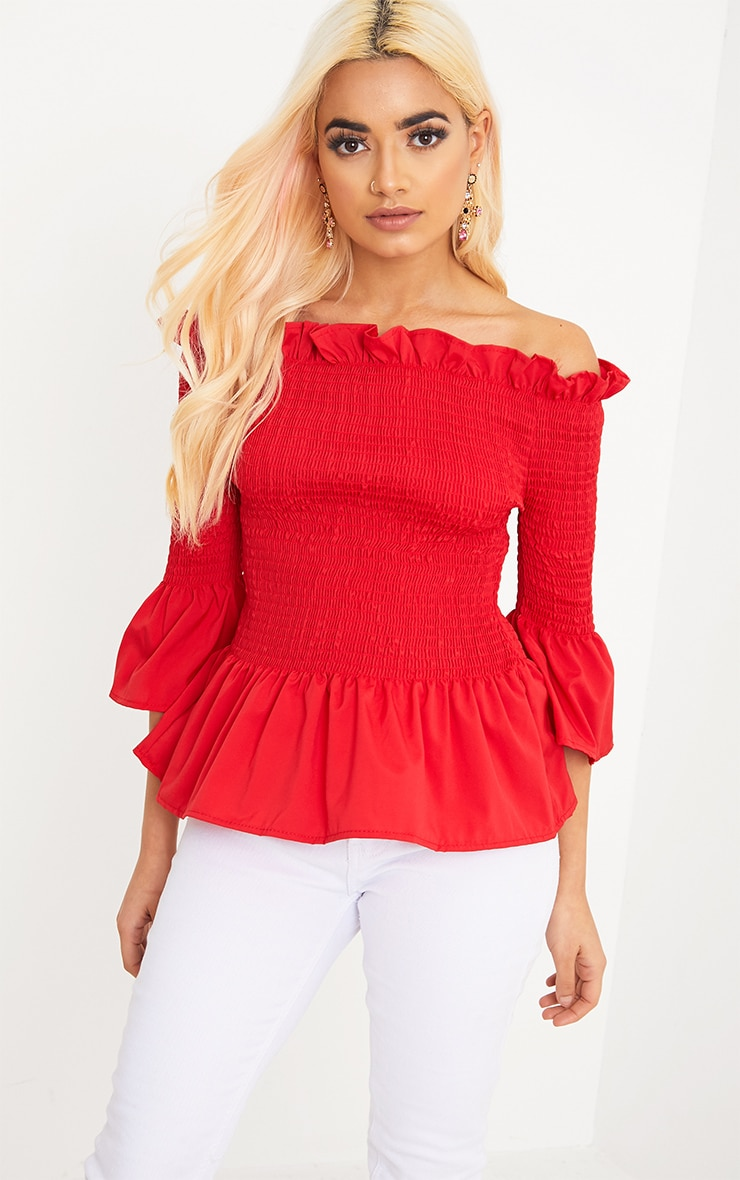 Pami Red Ruched Bardot Cotton Shirt 1