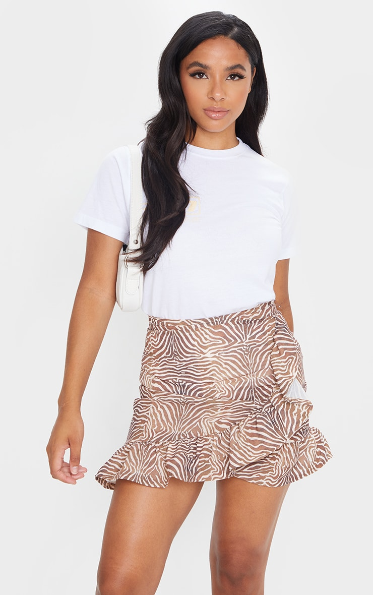 Brown Zebra Frill Hem Wrap Mini Skirt 1