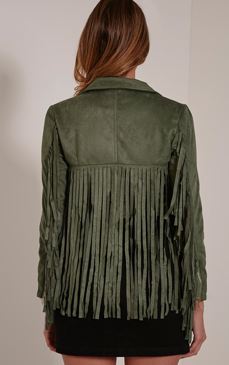 Harriet Khaki Faux Suede Biker Jacket 2