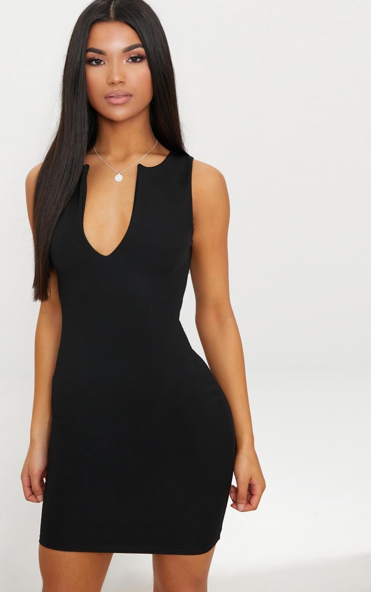 Black V Plunge Bodycon Dress 1