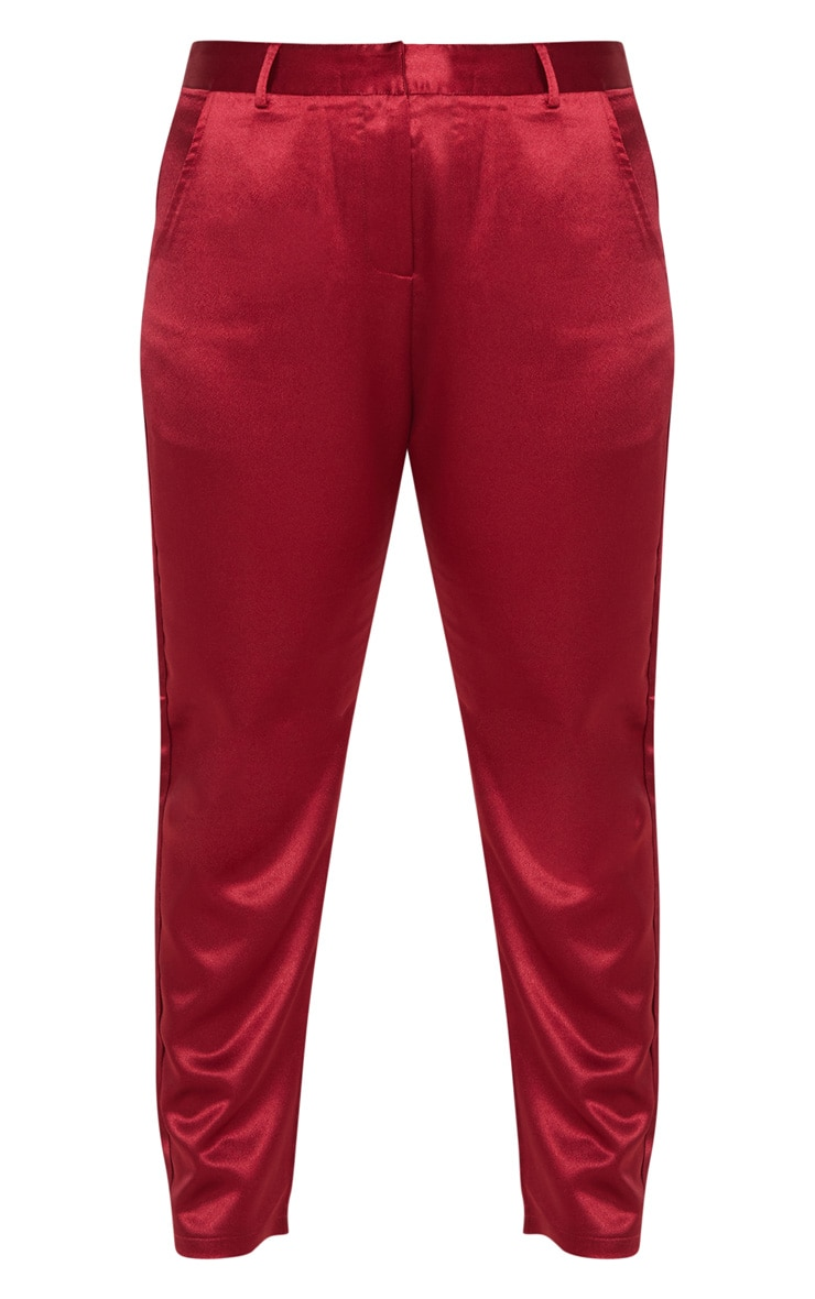 Plus Burgundy Satin Pocket Detail Straight Leg Pants 3