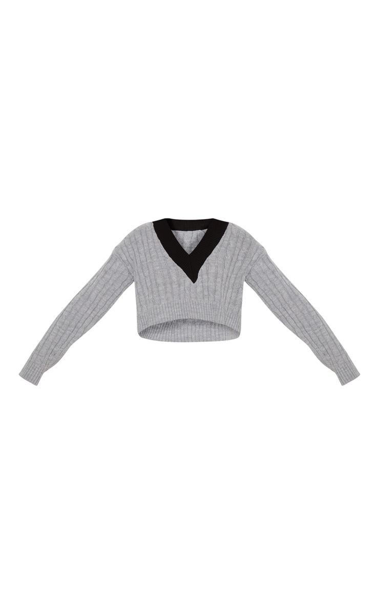 Grey Cable V Neck Knitted Jumper   3