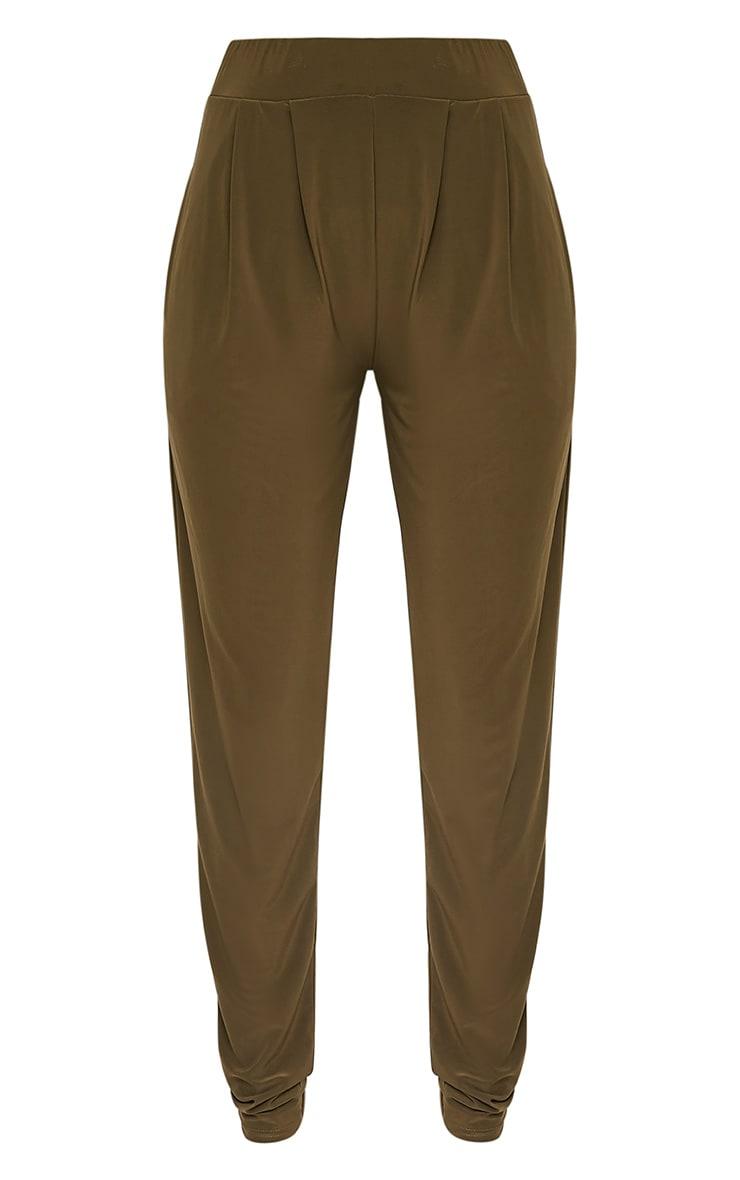 Rinda Khaki Slinky High Waisted Peg Trousers 3