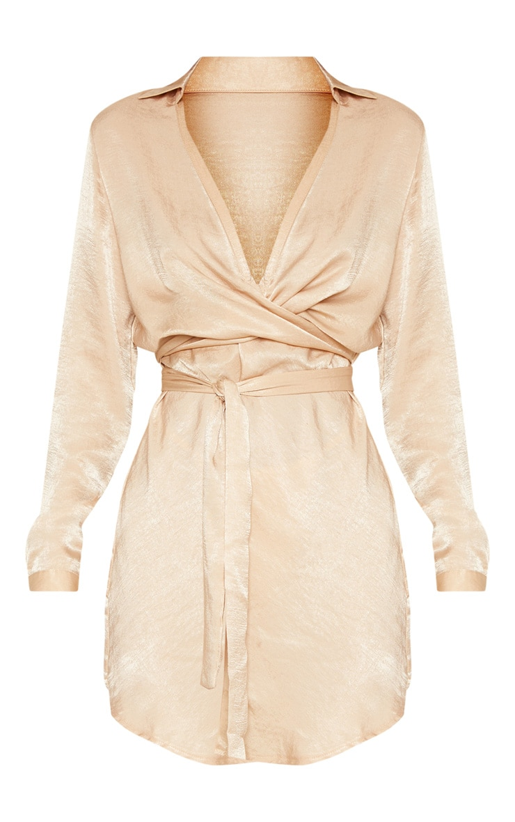 Champagne Satin Wrap Shift Dress 3