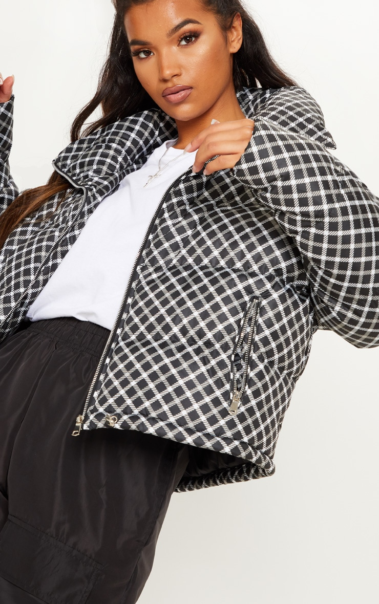 Black Checked Puffer  5