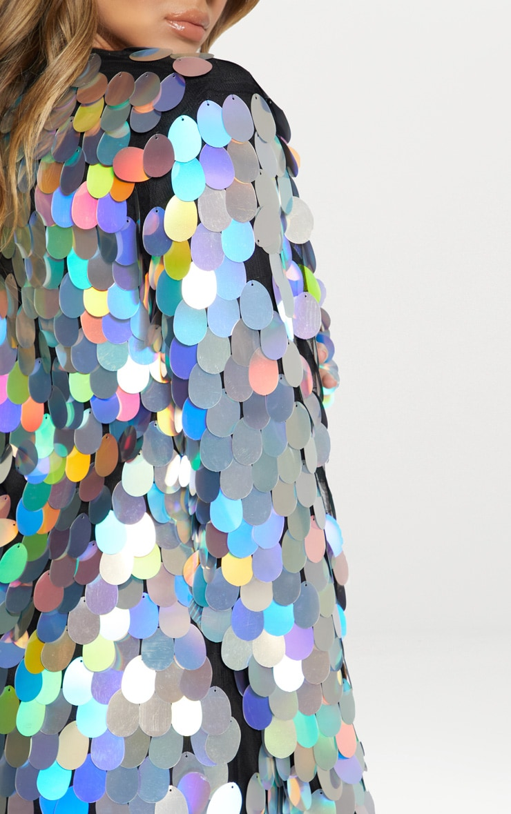 Silver Holographic Sequin Midi Kimono 6