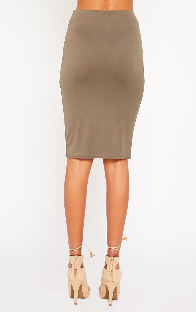 Klarisa Khaki Midi Skirt 4